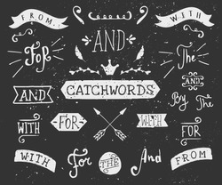 A set of chalkboard style catchwords and design elements. Hand drawn words