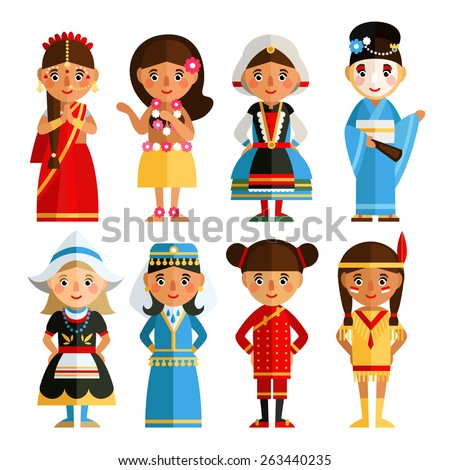 A set of characters in different national costumes in flat style. Cartoon girl in various costumes.