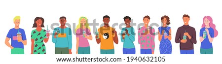 A set of characters. Young men and women drink smoothies, fresh juice, a cocktail. The concept of proper nutrition, healthy lifestyle. Flat cartoon illustration. Stock photo ©