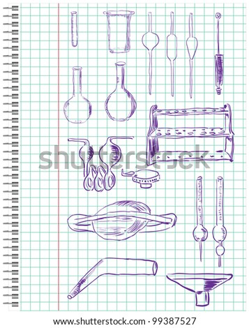 A set of chemical equipment in a school notebook in the box. Vector illustration.