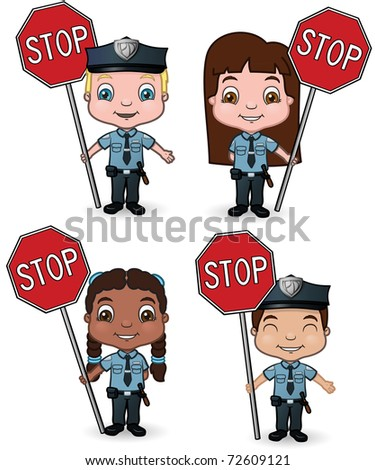 A set of children playing police officers with stop signs