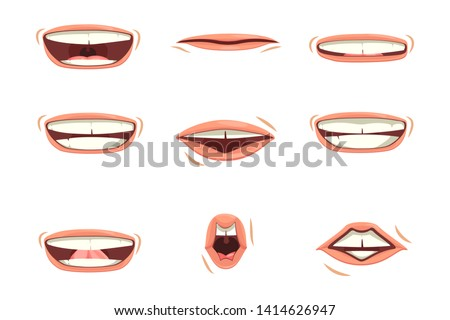 A set of children's or men's lips. Various expressions of emotions, a collection of gestures lips. Children's or men's lips express different emotions.