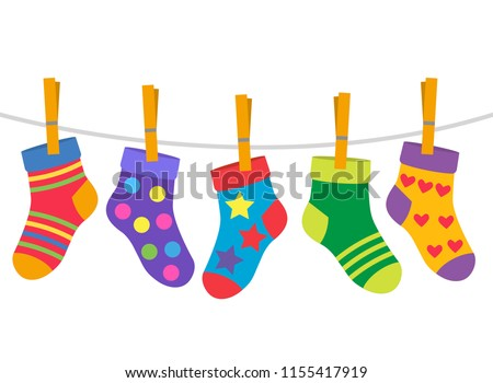 a set of children's socks are dried on a rope. flat vector illustration isolated on white background