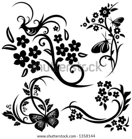 A set of 4 chinese floral designs.
