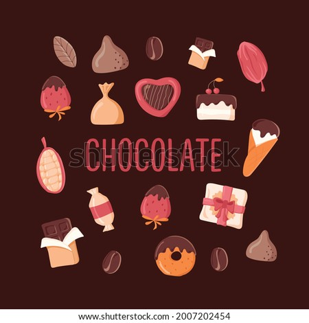A set of chocolate products isolated on a dark background. Chocolates, candies, chocolate bar, chocolate covered strawberries, ice cream, cocoa beans, box of chocolates, truffles, chocolate cake.