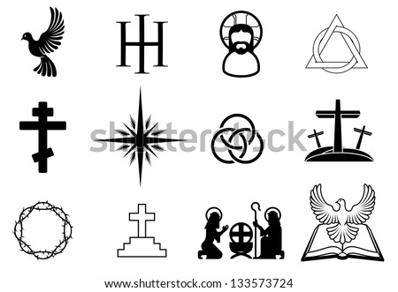 A set of Christian religious signs and symbols - stock vector