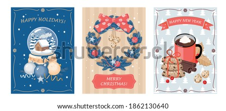 a set of christmas cards with a