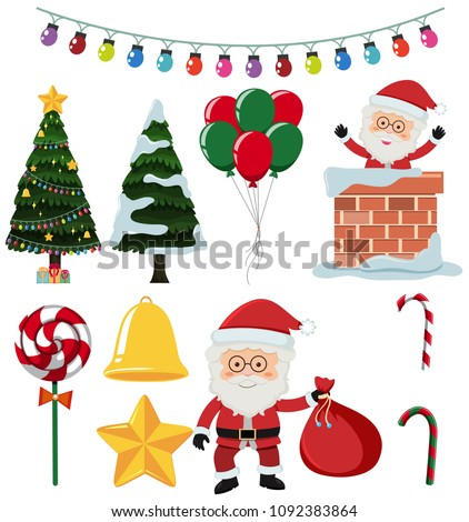 A Set of Christmas Element illustration