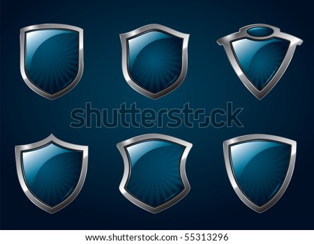 A set of chrome metallic mediavel shields.