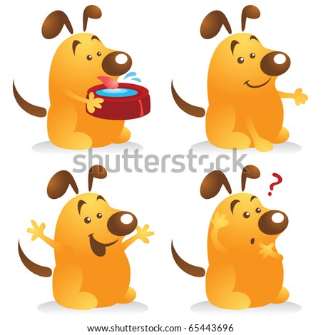A set of chubby dog cartoon character in different poses. Perfect for any friendly mascot needs.
