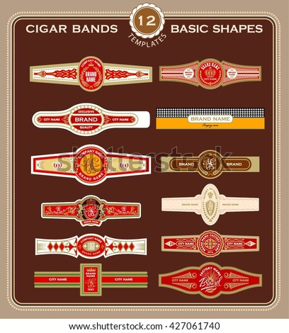 A set of cigar band design templates