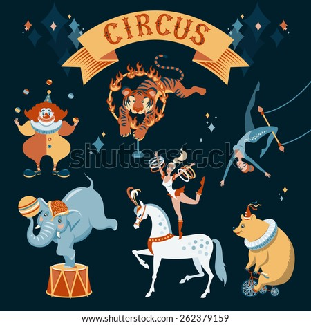 a set of circus characters