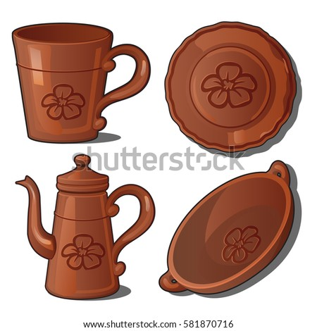 a set of clay teapot  plate and