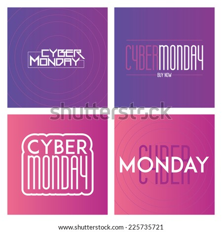 a set of colored backgrounds with text for cyber monday