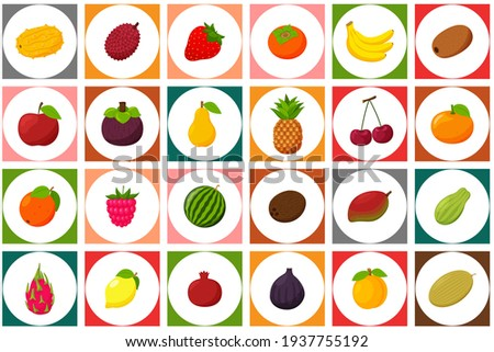 A set of colored icons with fruits and berries. A white circle on a square colored background. It can be used as a seamless pattern for packaging and printing on textiles. Bright vector elements.Flat