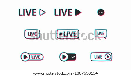 A set of colored Live buttons isolated on a light background. Buttons for the design of the user interface associated with video content. Vector illustration Stock fotó ©