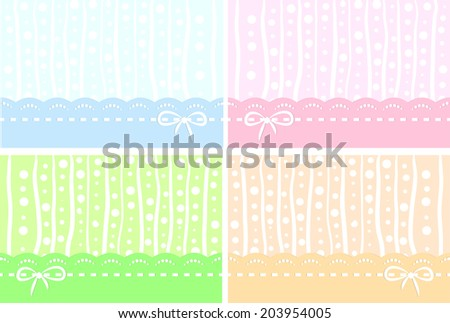 A set of colored pastel backgrounds with lace and bows for baby or girly design stock vector - Pastel lace wallpaper ...