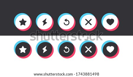 A set of colored round buttons with icons of hearts, stars, arrows, lightning bolts, and crosses drawn in a flat style. Social media network concept. Vector illustration Stock fotó ©