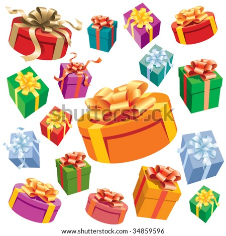 A set of colorful gift boxes. Vector illustration. - stock vector