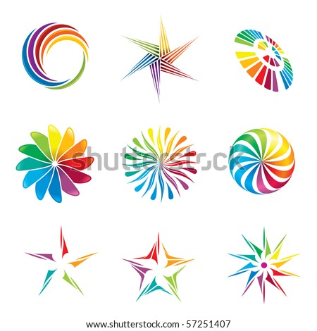 A set of colorful graphic design elements.