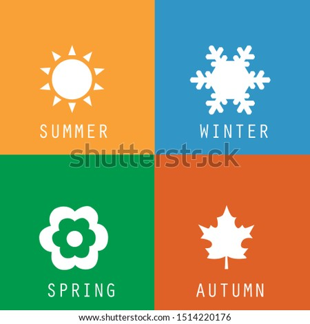 A set of colorful icons of seasons. The seasons - winter, spring, summer and autumn.