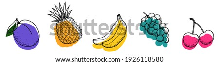 A set of colorful isolated fruit icons on a white background. Plum, pineapple, banana, grape, cherry. Fruit doodle with black outline and abstract colored shapes. Hand-drawn icons. Vector.
