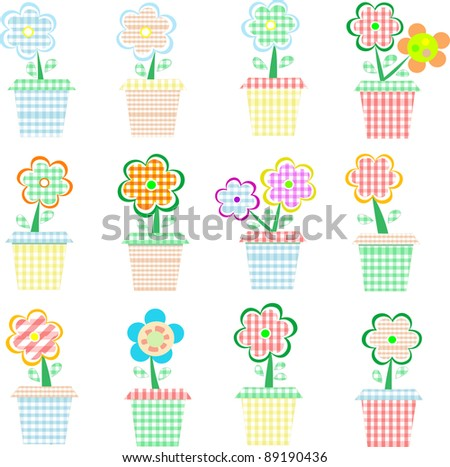 A set of colorful pots of flowers. Vector
