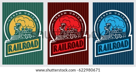A set of colorful retro posters with a vintage locomotive. Vector illustration