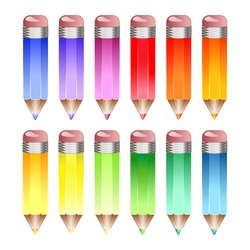 A set of colour pencil icons in rainbow shades. EPS10 vector format