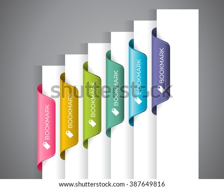A set of colourful bookmarks with 'Bookmark' wordings and icon at the white paper corner