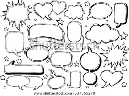 A set of comic bubbles and elements
