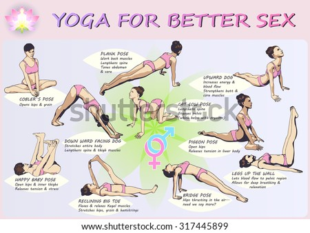 A set of complex visual exercise of yoga for better sex