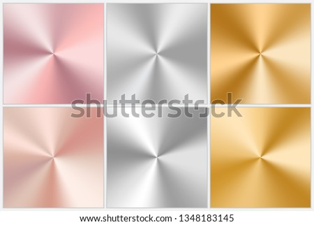 A set of conical gradients with silver texture, pink and yellow gold. Vector illustration
