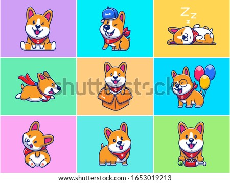 A Set Of Corgi Mascot Vector Icon Illustration. Collections Of Cute Corgi Logo Mascot Concept Isolated. Flat Cartoon Style Suitable for Web Landing Page, Banner, Flyer, Sticker, Card, Background