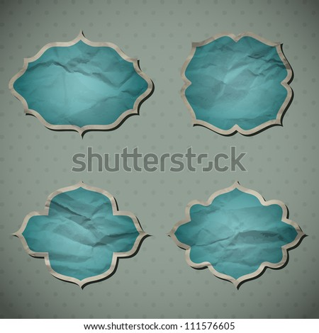 A set of Crumpled paper frames. Vector illustration. Eps10. - stock vector