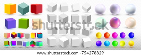 A set of cubic icons and balls with a perspective 3d cube model with a shadow. Vector illustration. Isolated on a transparent background stock photo