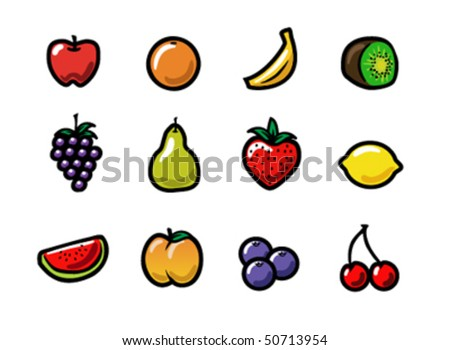 A set of cute and colorful cartoon fruit icons. Eps 8 Vector.