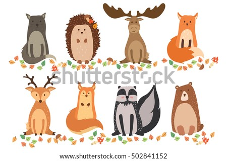 a set of cute animals on a