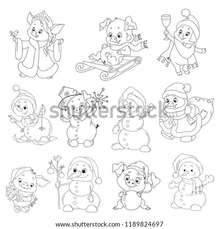 A set of cute characters for the new year. Christmas characters. Cartoon piglets and snowmen for coloring books. Vector elements for design.