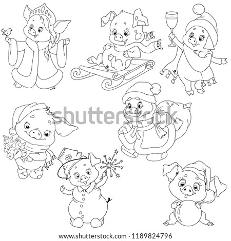 A set of cute characters for the new year. Christmas characters. Piggy cartoon for coloring the book. Vector elements for design.