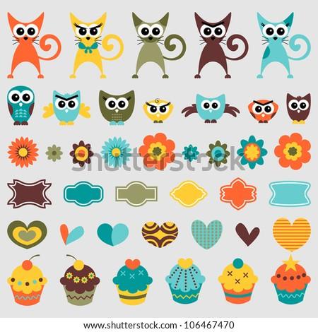 A set of cute childish elements