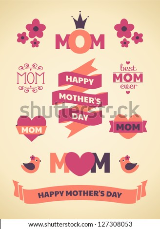 A set of cute design elements for Mother's Day.