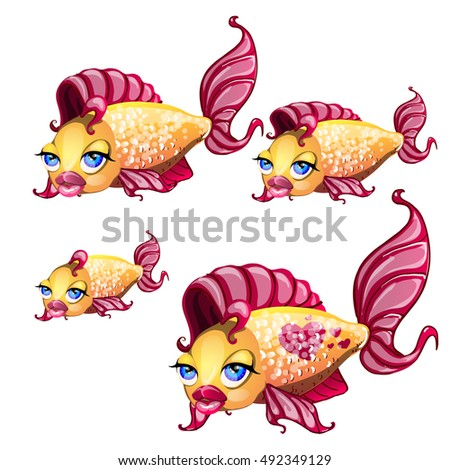 a set of cute fish with