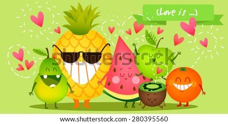 a set of cute fruit