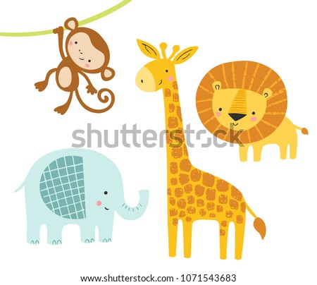 stock-vector-a-set-of-cute-jungle-animals-with-elephant-lion-giraffe-and-monkey-funny-animal-characters-kids