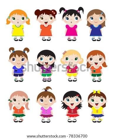 A set of cute little girl mascots. EPS10 vector format