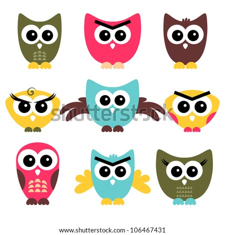 A set of cute owls - stock vector