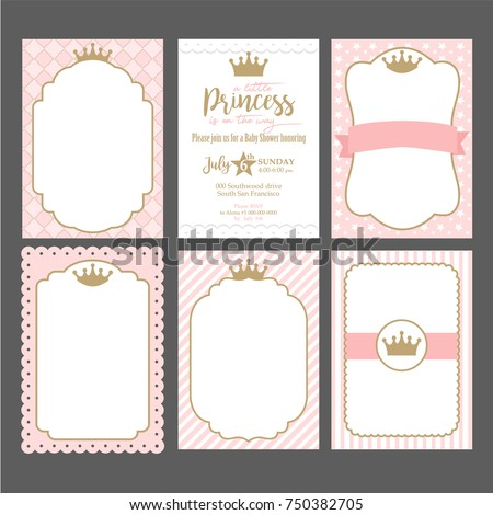 A set of cute pink templates for invitations. Vintage gold frame with crown. A little princess party. Baby shower, wedding, girl birthday invite card. Can be used for printing in A5 paper.