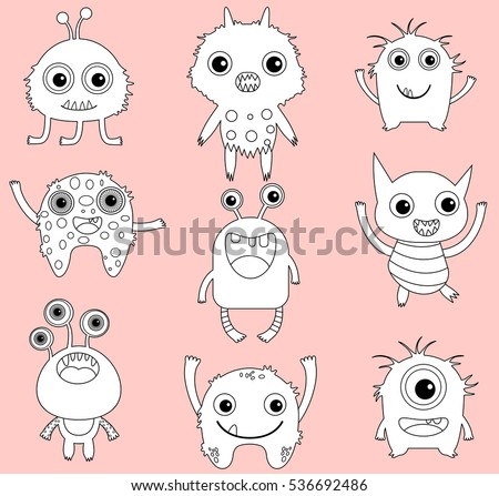 a set of cute vector monsters