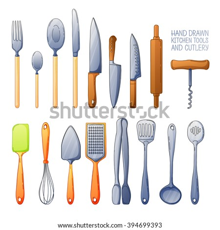 A set of cutlery spoon, fork, blender, knives.  Kitchen tools for cooking. A set of cutlery for serving in cartoon style. Vector.